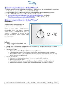 """1) Seznam komponentů systému Nordgas """"iModule"""" 2) Seznam"""