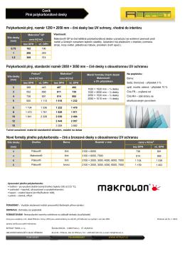 Ceník - MAKROLON - Plné polykarbonátové desky