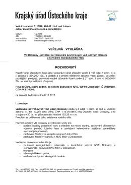 Veřejná vyhláška VD Doksany - Rozhodnutí