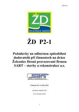 ŽD P2-1 – Odborná způsobilost dodavatelů při činnostech