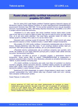 Ruské úřady udělily certifikát lokomotivě podle projektu CZ LOKO
