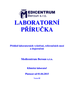 LABORATORNÍ PŘÍRUČKA - Medicentrum Beroun s.r.o.