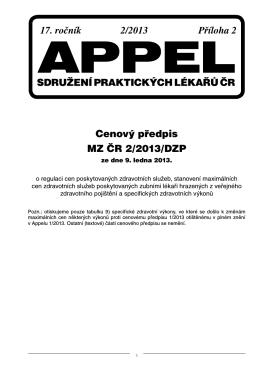 17. ročník 2/2013 Příloha 2 Cenový předpis MZ ČR 2/2013/DZP