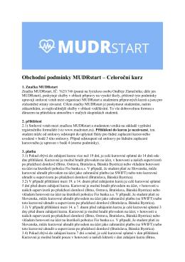 Obchodní podmínky MUDRstart – Celoroční kurz