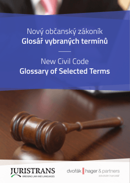 Nový občanský zákoník - Glosář vybraných termínů
