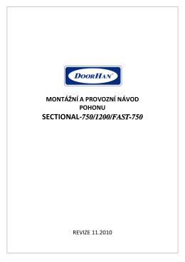 Návod k stropnímu pohonu sekčních vrat DoorHan SECTIONAL 750