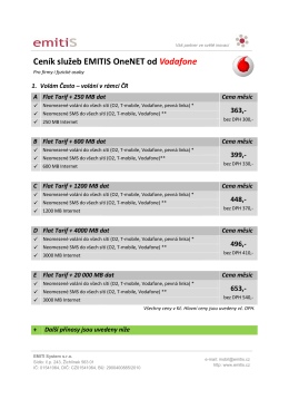 Ceník služeb EMITIS OneNET služeb EMITIS OneNET od Vodafone