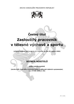 Čestný titul Zasloužilý pracovník v tělesné výchově a sportu
