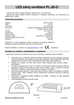 LED zdroj osvětlení PL-28-O 0°