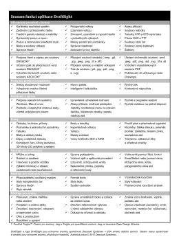 Seznam funkcí aplikace DraftSight