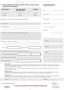 Vrácení a reklamace formulář 2015