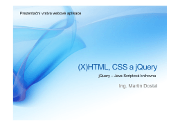 (X)HTML, CSS, jQuery