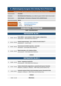 PDF verze odborného programu - Oční klinika Horní Počernice