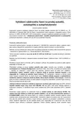 Vyhlášení výběrového řízení na prodej autodílů