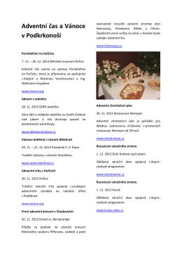 Adventní čas a Vánoce v Podkrkonoší