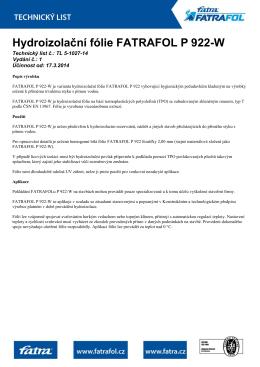 Hydroizolační fólie FATRAFOL P 922-W