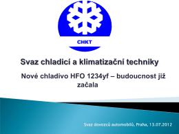 Nové chladivo HFO 1234yf - SDA