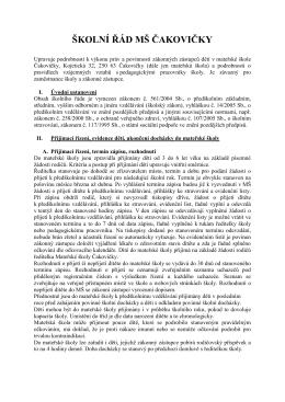 Školní řád Mateřské školy - Mateřská škola Čakovičky