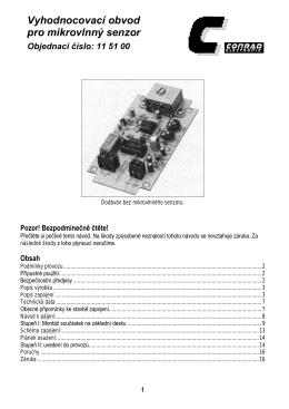 Vyhodnocovací obvod pro mikrovlnný senzor