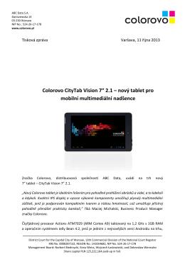"Colorovo CityTab Vision 7"" 2.1 – nový tablet pro"