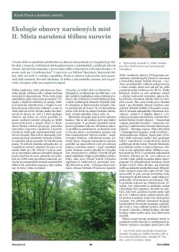 Ekologie obnovy narušených míst II. Místa narušená těžbou surovin