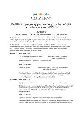 Vzdělávání pro pěstouny – Brno – jaro 2015