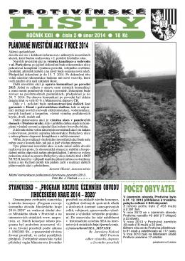 Protivínské listy 02/2014 (PDF, cca 2,1 MB)