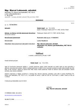 2014-09-25 Sdělení J.Holek 49-4 OSŘ R 364-2014 - RN