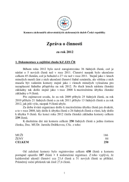 zprávu o činnosti za rok 2012 a uplynulé období