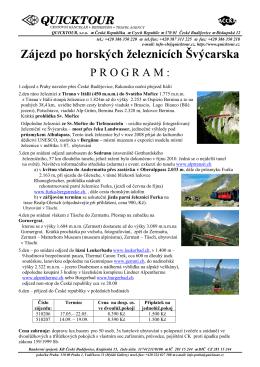 Horské železnice po Švýcarsku s rozpisem casu a cen
