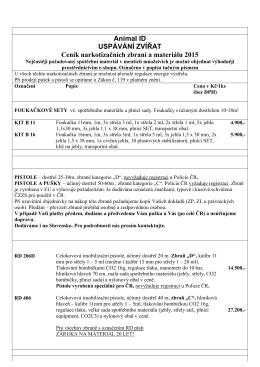 Ceník narkotizačních zbraní a spotřebního materiálu