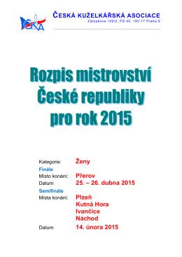 Rozpis MČR 2015 – Ženy - Česká kuželkářská asociace