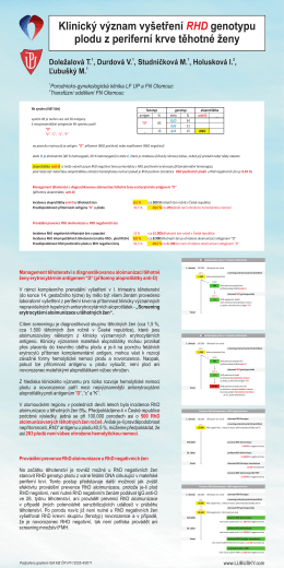Klinický význam vyšetření RHD genotypu plodu z per