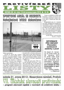 Protivínské listy 07-08/2013 (PDF, cca 2,1 MB)
