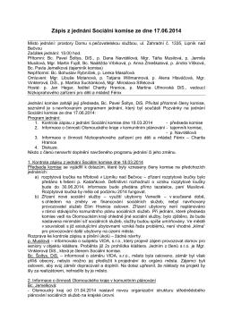 Zápis z jednání Sociální komise ze dne 17