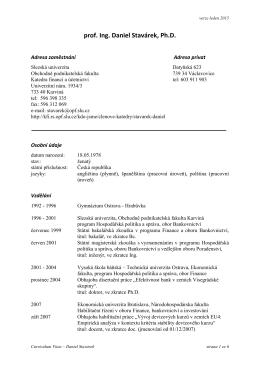 Kompletní CV - Katedra financí SU OPF