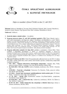 Zápis ze zasedání výboru ČSAKI ze dne 12. září 2013