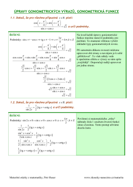 úpravy goniometrických výrazů, goniometrická funkce