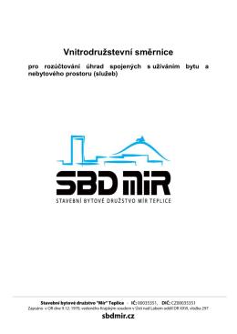 Vnitrodružstevní směrnice pro rozúčtování služeb (2014) [PDF