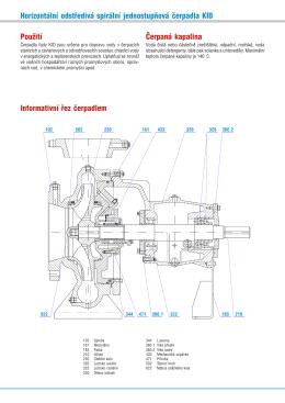Horizontální odstředivá spirální jednostupňová čerpadla KID Použití