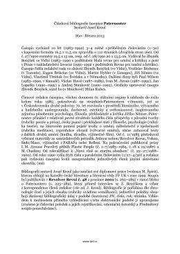 Článková bibliografie časopisu Paternoster Sestavil Josef Kroul Stav