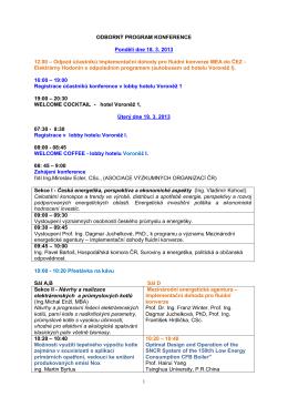 ODBORNÝ PROGRAM KONFERENCE Pondělí dne 18. 3. 2013