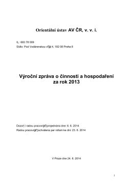 Výroční zpráva o činnosti a hospodaření za rok 2013
