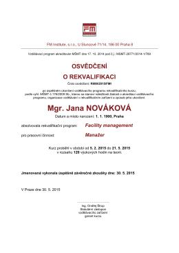 Vzor certifikace