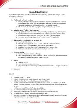 Vzor call script - Ing. Jan Korbel