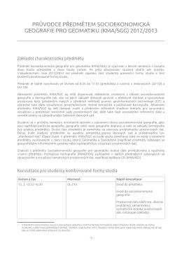 Průvodce předmětem - Geomatika na ZČU v Plzni