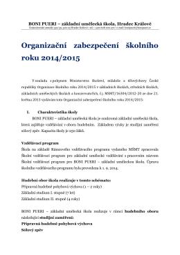Organizační zabezpečení školního roku 2014/2015