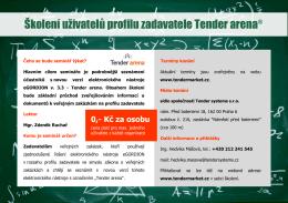 Školení uživatelů profilu zadavatele Tender arena®