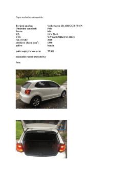 Popis osobního automobilu: Tovární značka: Volkswagen 6R