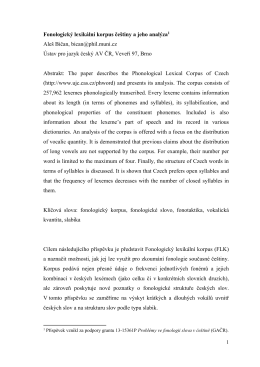Fonologický lexikální korpus češtiny a jeho analýza1 Aleš Bičan
